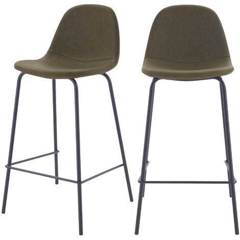 Chaise de bar mi-hauteur Henrik vert kaki 65 cm (lot de 2) - Kaki