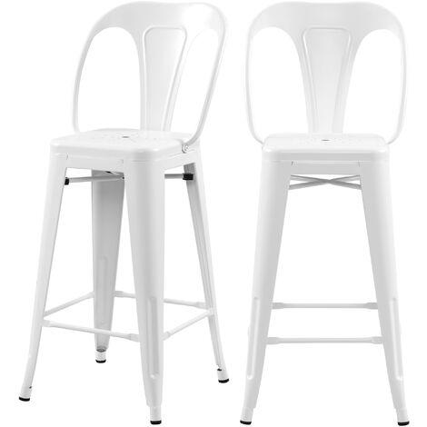 Chaise de bar mi-hauteur Indus blanc mat 66 cm (lot de 2) - Blanc