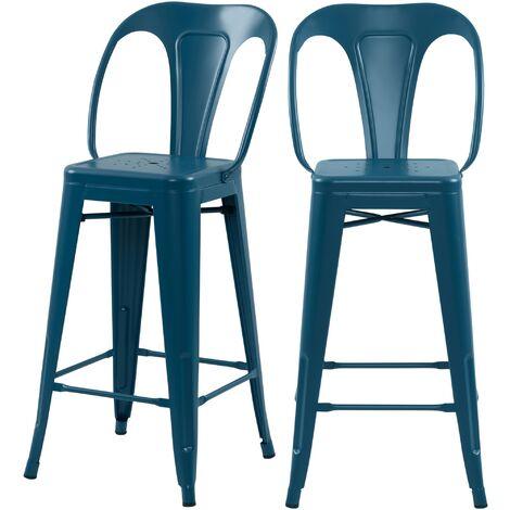Chaise de bar mi-hauteur Indus bleu mat 66 cm (lot de 2)