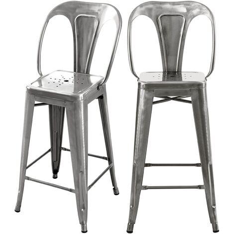 """main image of """"Chaise de bar mi-hauteur Indus gris anthracite 66 cm (lot de 2) - Gris"""""""
