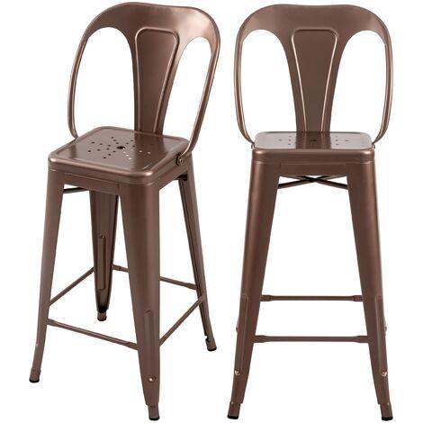 Chaise de bar mi-hauteur Indus cuivre 66 cm (lot de 2)