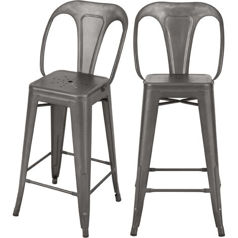 Chaise de bar mi-hauteur Indus gris acier 66 cm (lot de 2) - Gris