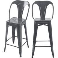 Chaise de bar mi-hauteur Indus gris brillant 66 cm (lot de 2)