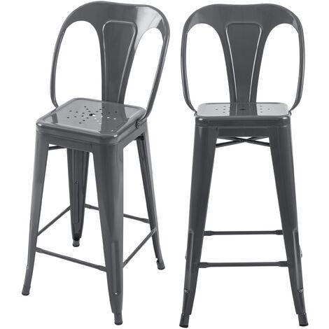 Chaise de bar mi-hauteur Indus gris brillant 66 cm (lot de 2) - Gris