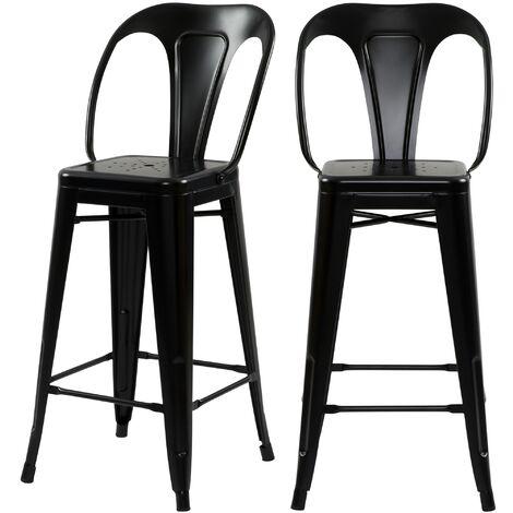 Chaise de bar mi-hauteur Indus noir mat 66 cm (lot de 2)