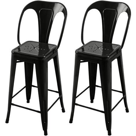 Chaise de bar mi-hauteur Indus noire 66 cm (lot de 2) - Noir