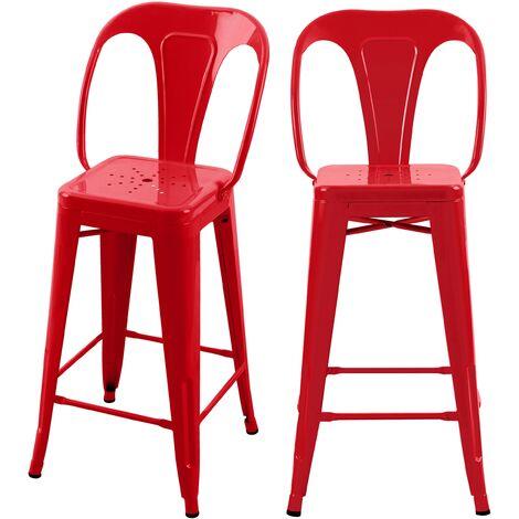 Chaise de bar mi-hauteur Indus rouge 66 cm (lot de 2) - Rouge