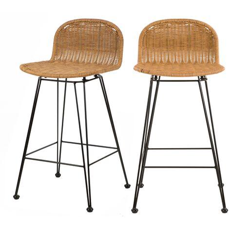 Chaise de bar mi-hauteur Jigani naturelle 63 cm (lot de 2) - Marron