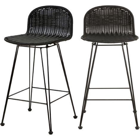 """main image of """"Chaise de bar mi-hauteur Jigani noire 63 cm (lot de 2) - Noir"""""""