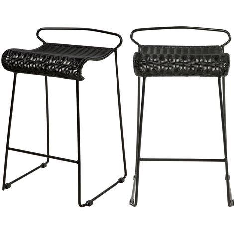 Chaise de bar mi-hauteur Magadi en résine tressée 63 cm (lot de 2) - Noir