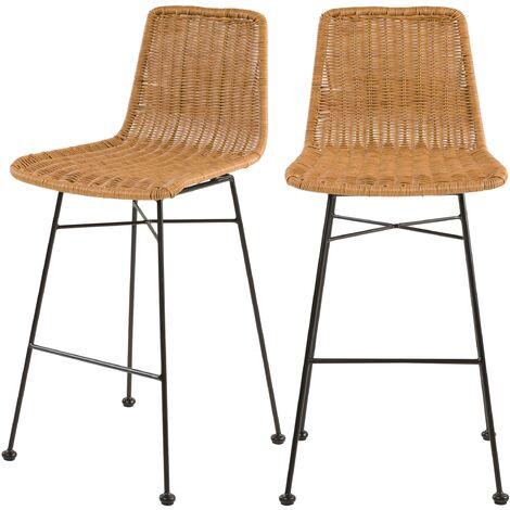 Chaise de bar mi-hauteur Mandya naturelle 63 cm (lot de 2) - Marron