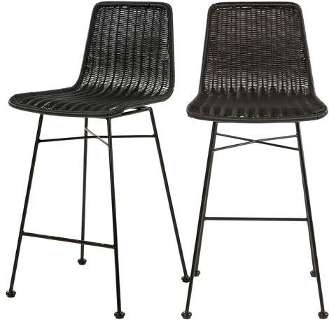 Chaise de bar mi-hauteur Mandya noire 63 cm (lot de 2) - Noir