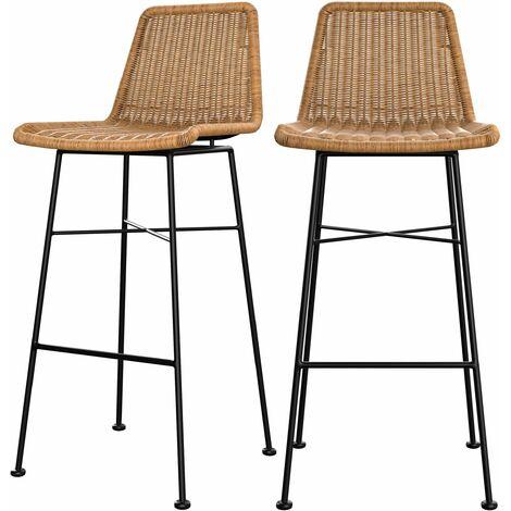 Chaise de bar mi-hauteur Mandya noire 76 cm (lot de 2) - Noir