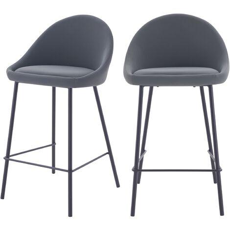 Chaise de bar mi-hauteur Misty grise 65cm (lot de 2) - Gris
