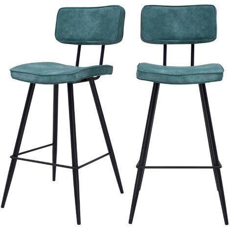 Chaise de bar mi-hauteur Texas bleue 65 cm (lot de 2)