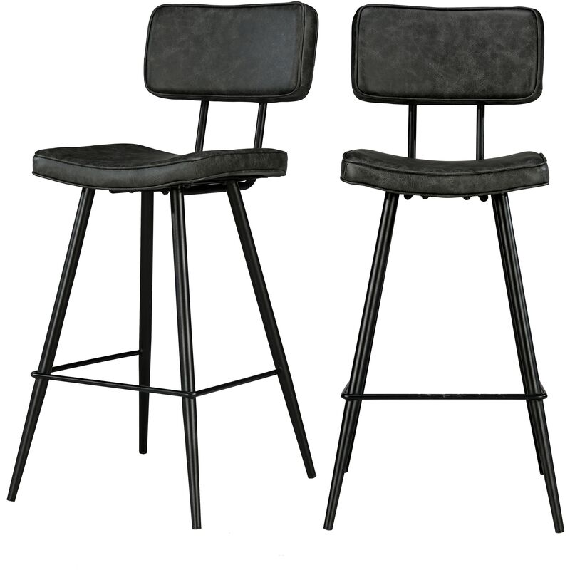 Chaise de bar mi hauteur Texas grisenoire 65 cm (lot de 2) Noir