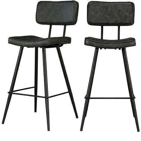Chaise de bar mi-hauteur Texas grise/noire 65 cm (lot de 2) - Noir