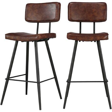Chaise de bar mi-hauteur Texas marron 65 cm (lot de 2)