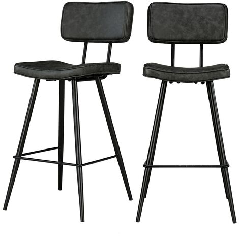 Chaise de bar mi-hauteur Texas noire 65 cm (lot de 2)