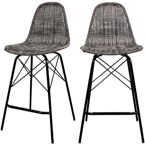 Chaise de bar mi-hauteur Tiptur en résine tressée grise 63 cm (lot de 2) - Gris