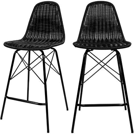 Chaise de bar mi-hauteur Tiptur en résine tressée noire 63 cm (lot de 2) - Noir