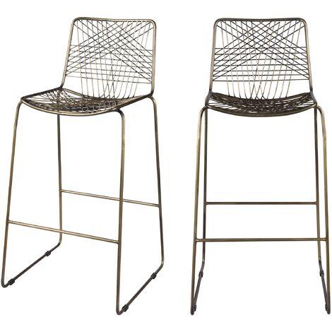 Chaise de bar Milou en métal 77 cm (lot de 2) - Or