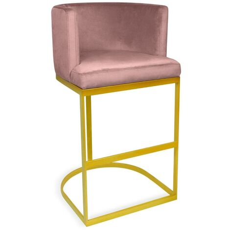 Chaise de bar Noellie Velours Rose Pieds Or - Rose