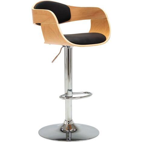 Chaise de bar Noir Bois courbé et similicuir