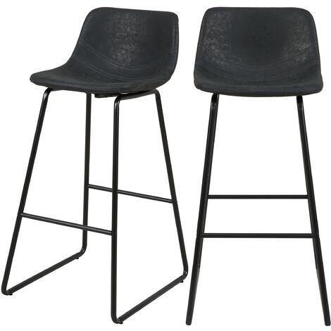 Chaise de bar noire Clay 76 cm (lot de 2) - Noir