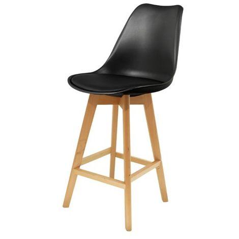 Chaise de bar Noire en bois et plastique