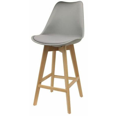 Chaise de bar - Pieds en bois - Gris - Livraison gratuite