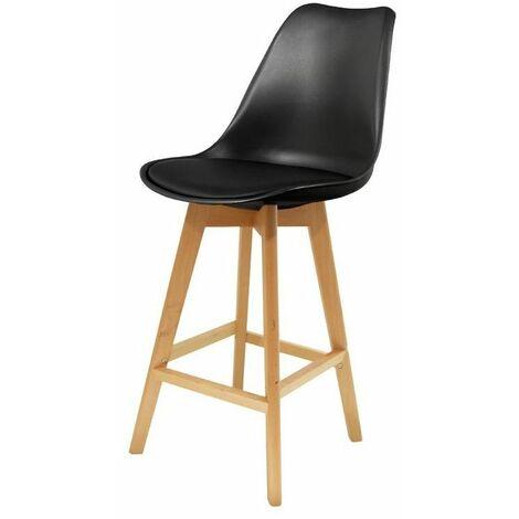 Chaise de bar - Pieds en bois - Noir - Livraison gratuite