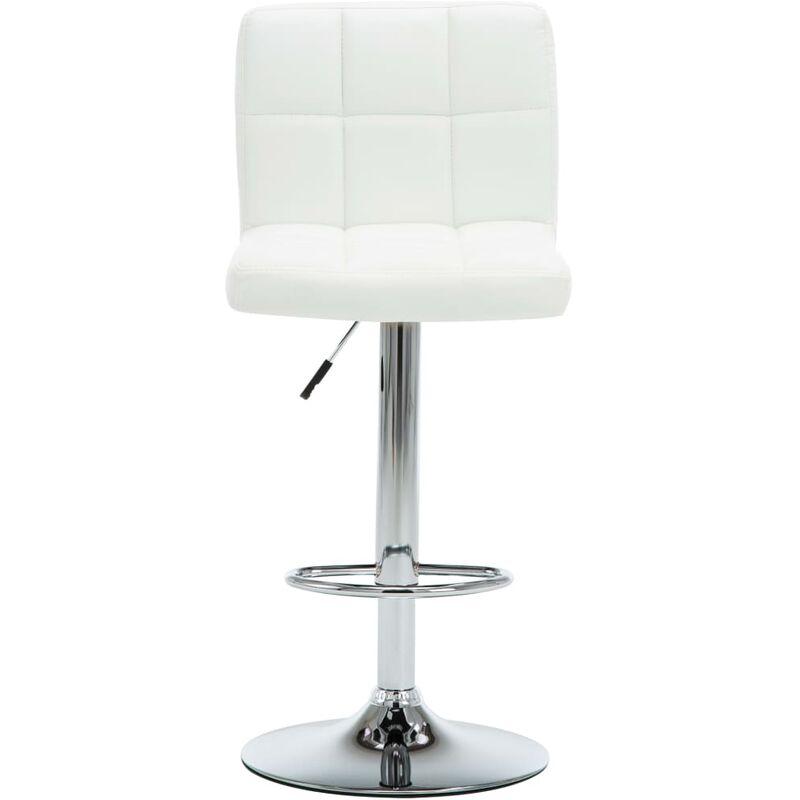 Chaise De Bar Pivotante 2 Pcs Simili Cuir 44x50x115 Cm Blanc