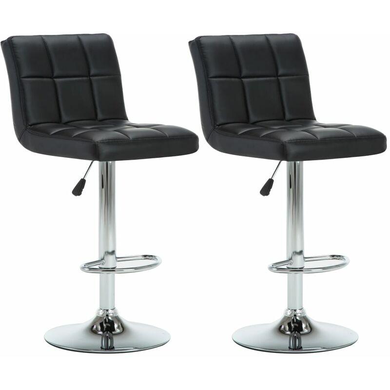 Chaise De Bar Pivotante 2 Pcs Simili Cuir 44x50x115 Cm Noir