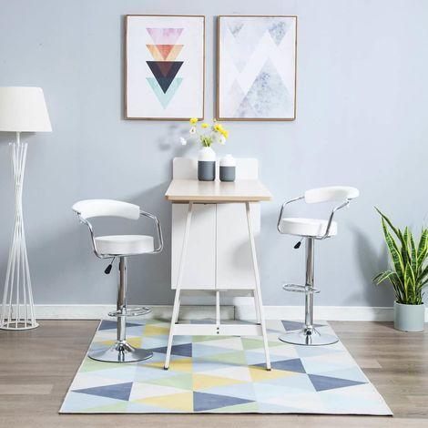 Chaise de bar pivotante 2 pcs Similicuir 52x51x106 cm Blanc
