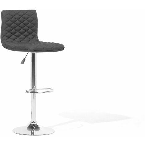 Chaise de bar réglable en tissu noire ORLANDO