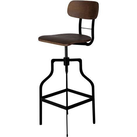 Chaise de bar Retro bois 66/85 cm - Bois foncé