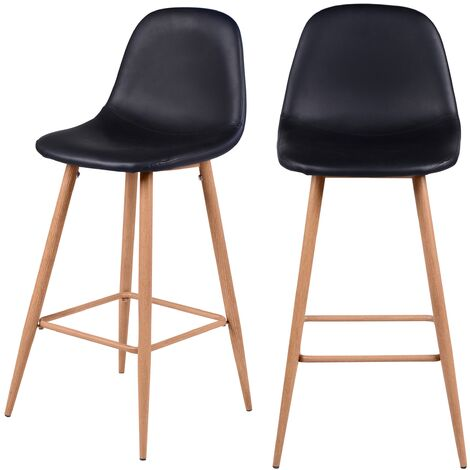 Chaise de bar Rodrik noire 73 cm (lot de 2) - Noir