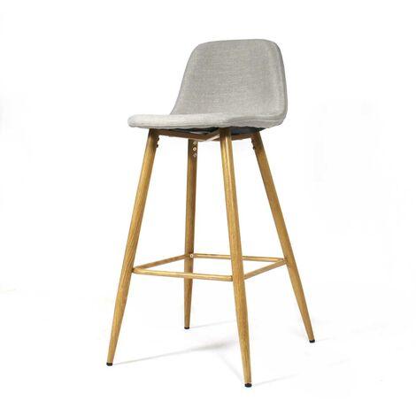 Chaise de bar scandinave en tissu beige, pieds compas - Beige