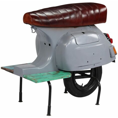 Chaise de bar scooter Gris Cuir véritable et bois recyclé