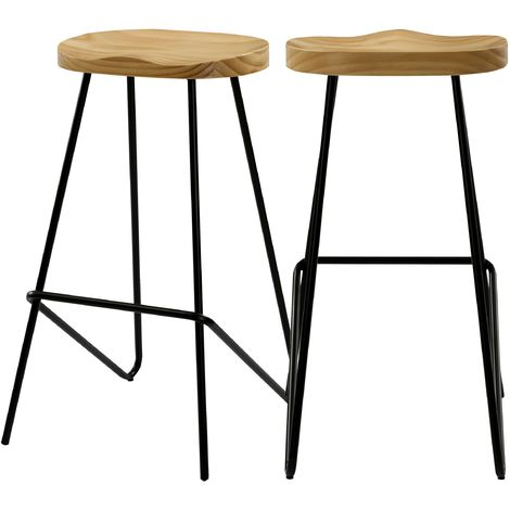 Chaise de bar Victoire en bois 78 cm (lot de 2) - Bois clair