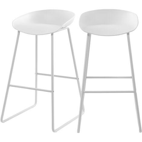 Chaise de bar Yoshi blanche 76 cm (lot de 2) - Blanc