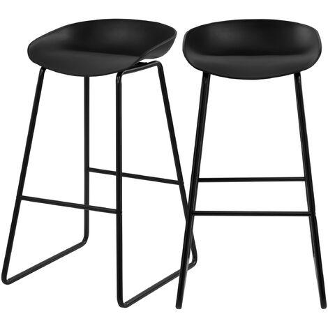 Chaise de bar Yoshi noire 76 cm (lot de 2) - Noir
