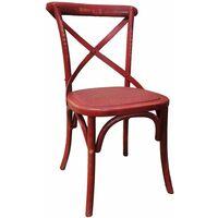 Chaise de bistrot en bois vieilli Rouge