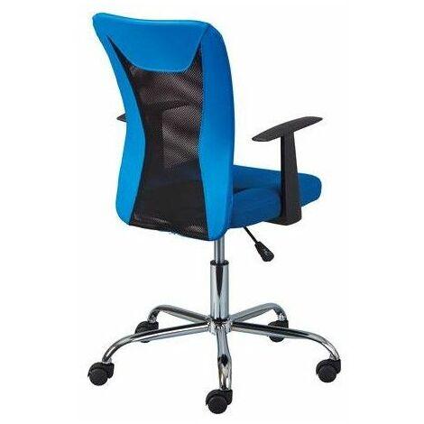Chaise de bureau à roulettes Donny - l 48 x P 55 x H 89-99 cm - Bleu - Livraison gratuite