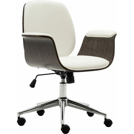 Chaise de bureau Blanc Bois courbé et similicuir