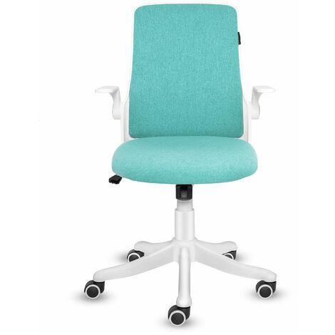 Chaise de bureau Chaise de bureau ergonomique Siège pivotant à dossier en maille Support lombaire réglable Chaises de direction avec accoudoirs rabattables
