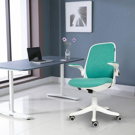 Chaise de bureau Chaise de bureau ergonomique Siège pivotant à dossier moyen en maille Chaise de direction à soutien lombaire réglable avec accoudoirs rabattables