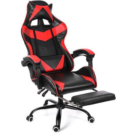 Chaise de Bureau, Chaise de jeu, Fauteuil Siège de bureau Inclinable à150° avec Repose-pieds