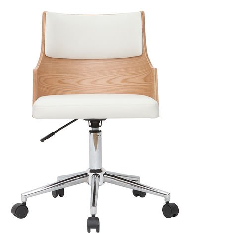 Chaise de bureau design blanche et bois clair avec coussin intégré MAYOL